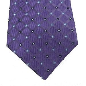Club Room Men's Neck Tie Purple Diamond Grid Plaid